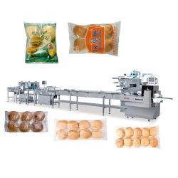 Voller Schnitt-Selbstschneidmaschine-Hamburger-Brötchen-Brot-Kuchen-automatisches Fluss-Satz-Gruppen-Satz-Kissen, das horizontales automatisches Verpackungsfließband Verpackmaschine packt