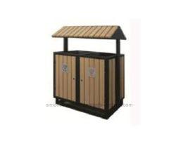 Barato de alta calidad Medio ambiente al aire libre compuesto de plástico madera WPC cubo de basura / Papelera de reciclaje (HK-XM18D5).