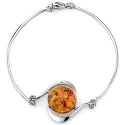 925 Sterling Silver & réglage de l'AMBRE Bracelet Bangle Mode Bijoux Bijoux