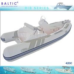 Fibra de cabina Pontão barco inflável Hypalon barco da costela 420 C
