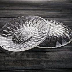 La transparencia de grado alimentario plato de fruta de la placa de vidrio grabado