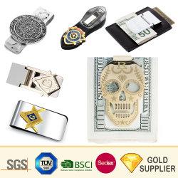 Clip Money clip in metallo placcato oro argento in acciaio inox personalizzato Stampa in lega di ottone vuota pelle di plastica stampaggio Business fibra di carbonio Clip per contanti ricordo