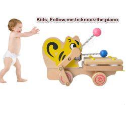 Tirez l'éléphant d'animaux d'enseignement en bois le long de la musique pour piano de Knock xylophone jouet pour enfants
