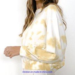 新しい方法女性綿かスパンデックスのフランスのテリーの衣服はニットのプルオーバーを結染めた