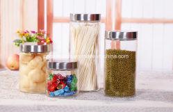 Food Grade redondos y cuadrados para almacenamiento de alimentos jarra vacía claro contenedor de vidrio de cereales de 500/750/1000ml