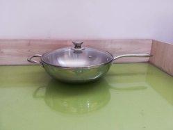 Klaar voorraad, de Wok van het Roestvrij staal met Deksel, Inductie Cookware, Keukengerei, Chinese Wok
