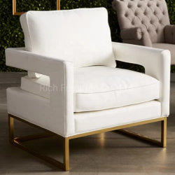 Mid-Century High Quality Soft White Leather Sofa Chair In Office Roestvast Steel Gold Finish Accent Chair