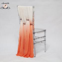 Naranja Obmre baratos boda Chiffon guillotinas silla