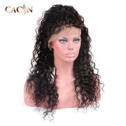 絹の上のFuturaの毛水カールの白人女性のための完全なレースのかつら