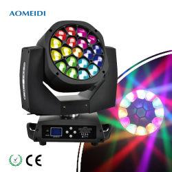 Som profissional 19*15W RGBW 4NO1 LED de iluminação de DJ Zoom Cabeça Móvel