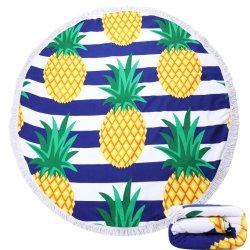 Serviette de plage ronde épaisse couverture avec des glands, ronde Mandala tapisserie absorbant doux à séchage rapide, capot table de pique-nique, cercle de la plage de jeter une couverture, de tapis, nappe,