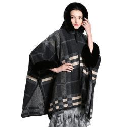 Настраиваемые Производство трикотажных шаль с меховой воротник капота