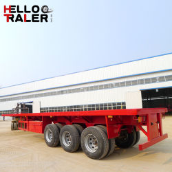 3 ejes 40ft 40-60 toneladas de transporte de contenedores de superficie plana de remolque semi