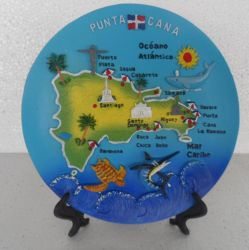 Polyresin Placas de recuerdos para turistas con la imagen del mapa para promoción