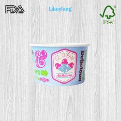 처분할 수 있는 8oz/250ml 관례에 의하여 인쇄되는 벽 아이스크림 컵