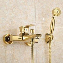FLG vergulde badkuipkraan met handdoucheset