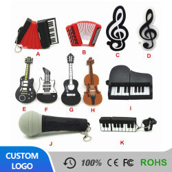 Aandrijving van de Flits van de Gift 1g 4G 8g USB van het Beeldverhaal van de Gitaar van de Piano van de Gift van het Silicone van pvc van het Element van de muziek de Creatieve