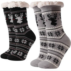 La Chine usine Socks unisexe pantoufles en peluche personnalisé de l'hiver chaud Anti-Skid floue Sol intérieur doublé de chaussettes de patin