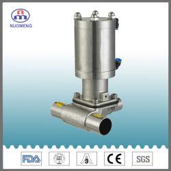 Medidas sanitarias de acero inoxidable SS304/SS316L Three-Way neumática de doble acción de la válvula de diafragma