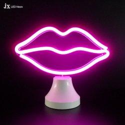 La decoración pared iluminación de noche y el doble de LED emisor Neon Lámpara de mesa