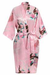 Vrouwen die Bruids Robe van de Zijde van de Koker van de Robe van de Kimono van de Pauw de Korte afdrukken