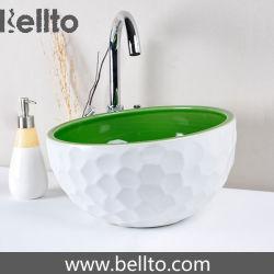 La escultura de porcelana artesanal único lavabos para baño (C-1071)