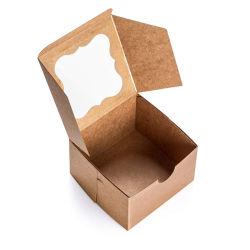 Grau Alimentício descartáveis sanduíches/Hambuger/Bolo Caixa de papel Kraft com Pet