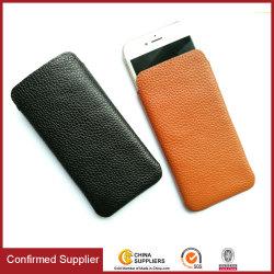حقيبة حقيبة حمل للهاتف المحمول من الجلد الأصلي لسان سحب الهاتف