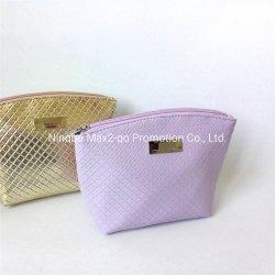 Tece PU couro padrão ouro de forma Shell Lavanda saco cosméticos