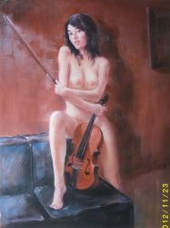Nu figura na pintura a óleo 3
