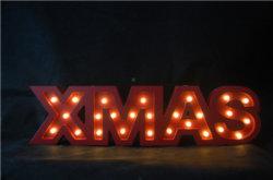 [إكسمس] كلمة ضوء مع [لد] عيد ميلاد المسيح زخرفة خشب ضوء