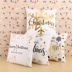 クリスマスXmasのスノーマンの綿のリネン印刷のクッションカバー創造的なホーム枕カバー