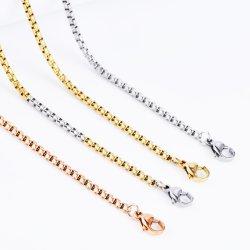 Gioielli personalizzati Accessori di moda acciaio inox catene base scatola rotonda Collana con catena Bead Ball link per gioielli uomo e donna