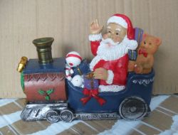 Пластмассовый судно Санта скульптура рождественских подарков Polyresin судов