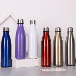 500ml二重壁のコーラの形のスポーツの瓶ガラスのステンレス鋼の水差しの習慣のロゴ
