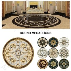 Marmeren vloer Waterjet patroon Medallion Mozaïsche tegels voor thuis Hotel decoratie