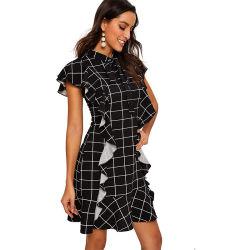 أزياء نسائية أنيقة ياقة Lace قصير الأكمام مطوي كوكتيل hem اللباس