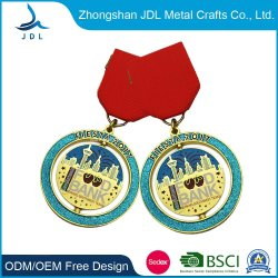Antieke Messing van het Embleem van de Douane van China het 2D/3D de In reliëf gemaakte/Goud/Zilver/Nikkel/Medaille van het Honkbal van het Verkoperen met het Sleutelkoord van het Lint (367)