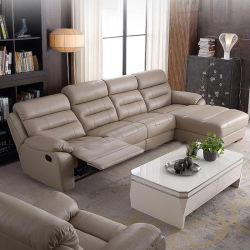 Le cinéma d'inclinaison électrique en cuir noir canapé canapé Home Cinéma électrique de siège de massage en cuir pleine fleur