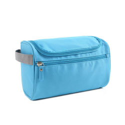 Saco de higiene pessoal Mala de viagem com gancho para pendurar, Organizer para Acessórios, champô, cosméticos, artigos pessoais, saco de cuidados de saúde com pega, cinzento