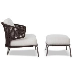 Gaststätte-Garten-Möbel-entspannen sich gesetztes Balkon-Rattan-Sofa Stuhl mit Schemel