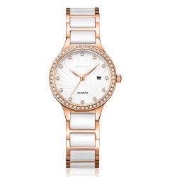 Beau visage quartz analogique de pression d'huile Lady montre avec affichage de la date