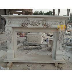 Idee beige del camino del calcare intagliate mano elegante dell'interno di disegno & esterna