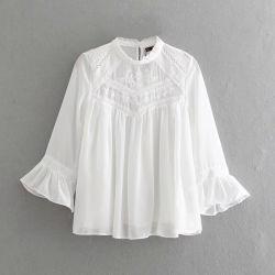 نساء بيضاء شريط وزر فصل صيف يقوّي [كتّون شيرت] خارجا خاصّ بالأزهار تطريز قميص صلبة بنات [شك] تويجيّة كم أعالي وزرة