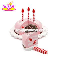 子供の蝋燭が付いている木のバースデー・ケーキの切断のおもちゃ、熱い販売の子供W10b136のための木のおもちゃのバースデー・ケーキ
