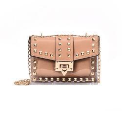 Lockの2020の方法Trendy PVC Rivet Design Chain Shoulder Crossbody Handbags Small Clear Transparent Jelly Purses