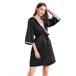 제조업자 섹시 Lace Up Lady′ S 파자마 단색 3 반팔 얇은 잠옷 천연 실크 가운