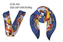 Square Women Scarf Navy Custom Flower Chain zacht zijdegevoel 2021