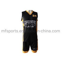 Panneau latéral de jaune d'Uniformes de basket-ball d'impression numérique haut Shirt