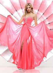 Form-korallenroter Abend-Kleid-reizvoller Riss-Schatz, der eine Zeile formales Partei-Kleid-Abschlussball-Kleid-Frauen-Kleiden bördelt